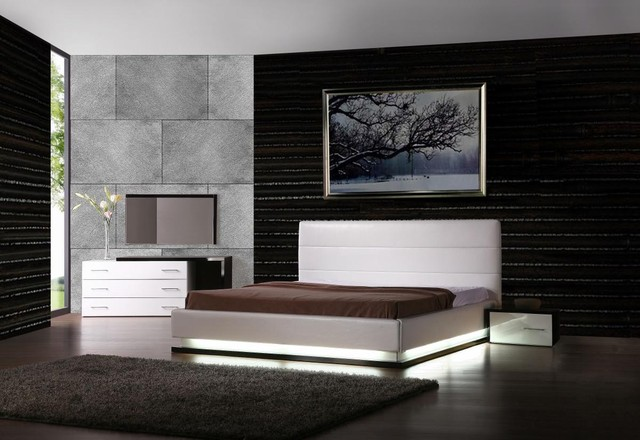 Contemporary Platform Bed With Lights Contemporary