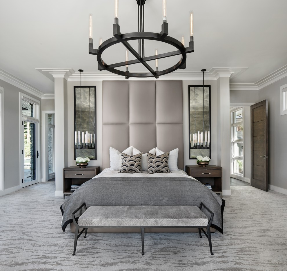 Inspiration for a contemporary master carpeted and gray floor bedroom remodel in Detroit with gray walls and no fireplace