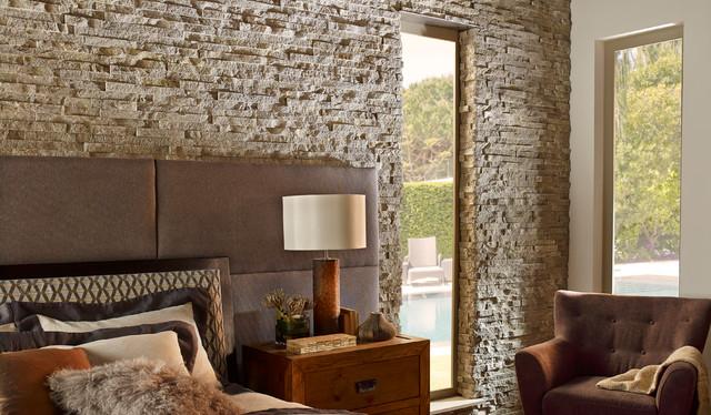 Contemporary Stone Wall Bedroom contemporary-bedroom