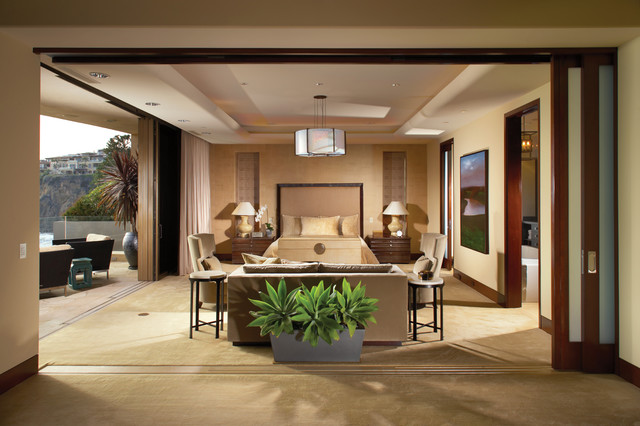 Contemporary Style in Laguna Beach California Tropical Bedroom