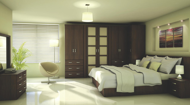 Contemporary walnut effect modular bedroom furniture for Modular bedroom furniture systems