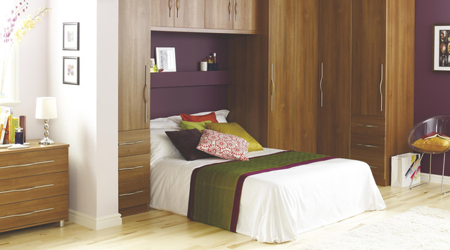 Delightful Contemporary Walnut Style Modular Bedroom Furniture System Contemporary  Bedroom
