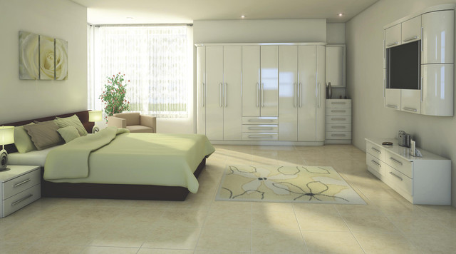 Contemporary white gloss modular bedroom furniture for Modular bedroom furniture