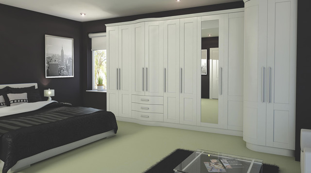 Contemporary white modular bedroom furniture system for Furniture 3 rooms for 1999