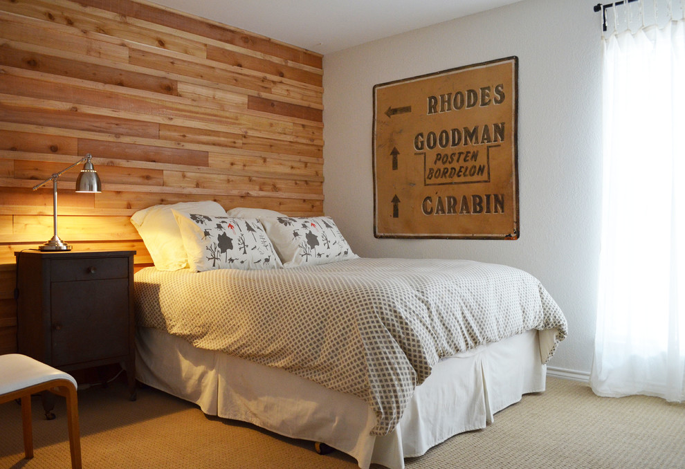 Bedroom - eclectic carpeted bedroom idea in Dallas with white walls