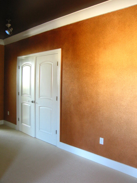 concrete floor in bathroom copper decorative painted wall treatment contemporary 17829