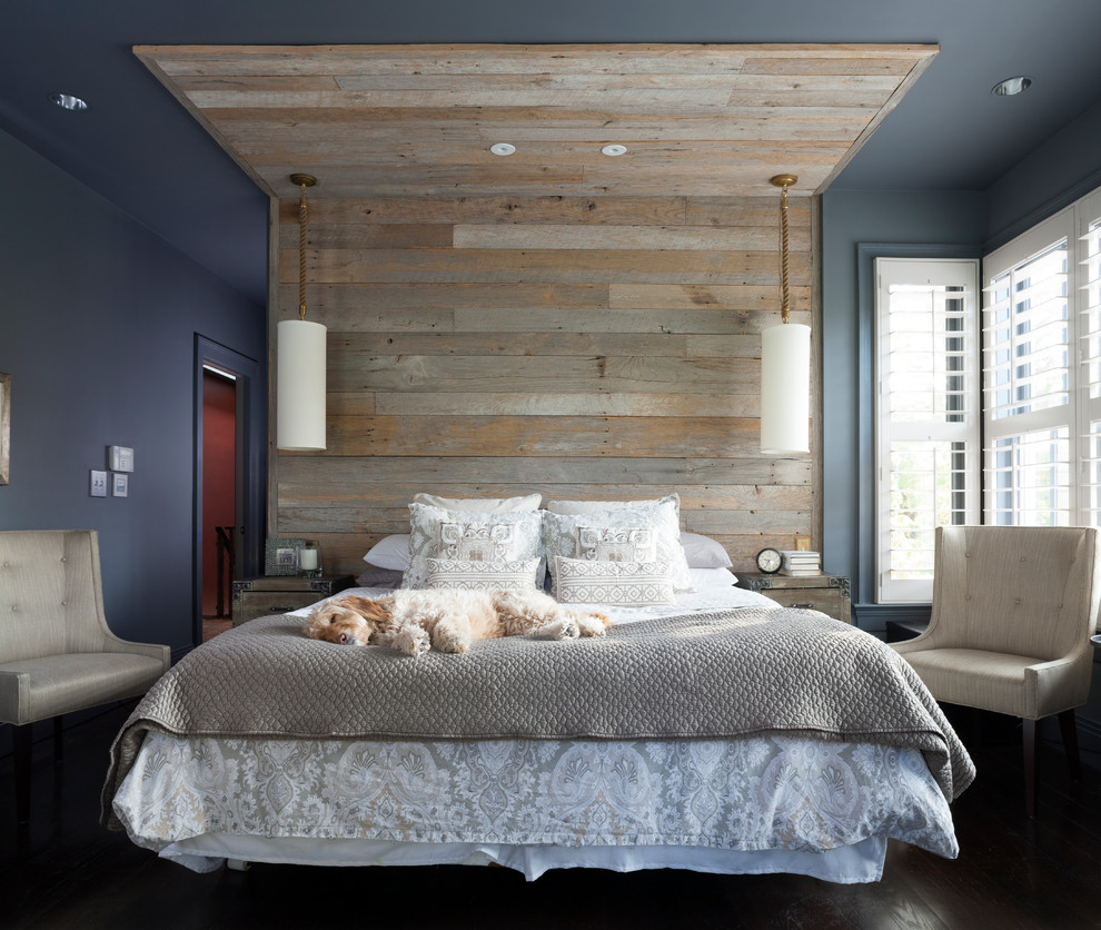 Inspiration for a transitional master dark wood floor bedroom remodel in DC Metro with blue walls