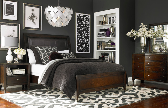 Cosmopolitan Leather Sleigh Bed By Bassett Furniture Contemporary