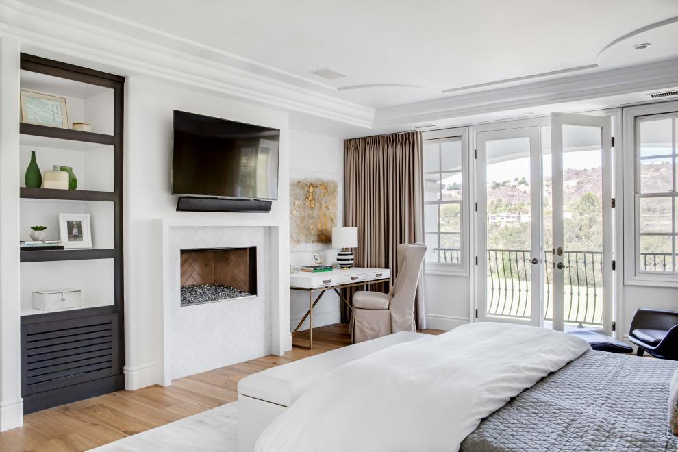 Bedroom - master light wood floor bedroom idea in Orange County