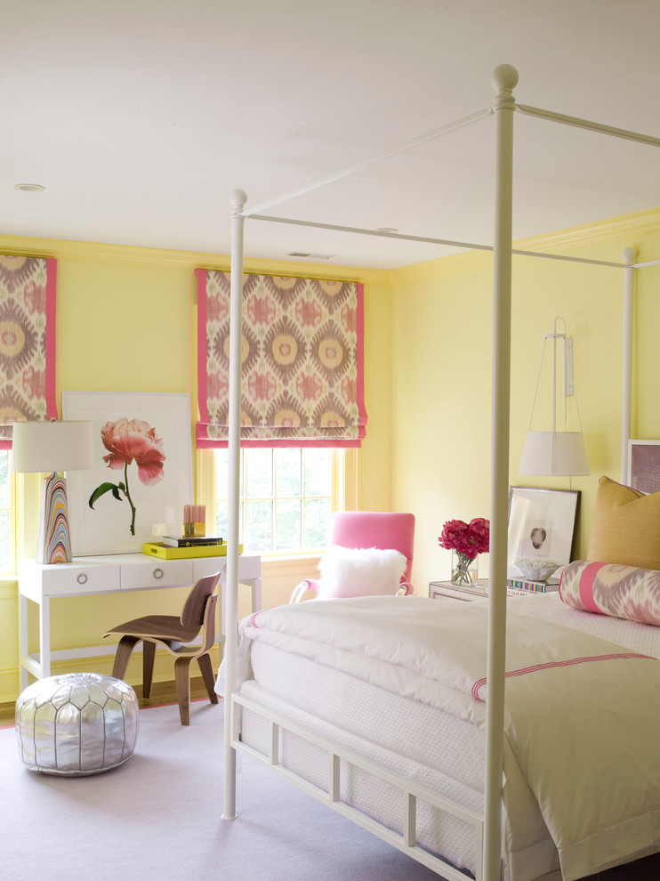 Mid-sized trendy guest carpeted and purple floor bedroom photo in Dallas with yellow walls