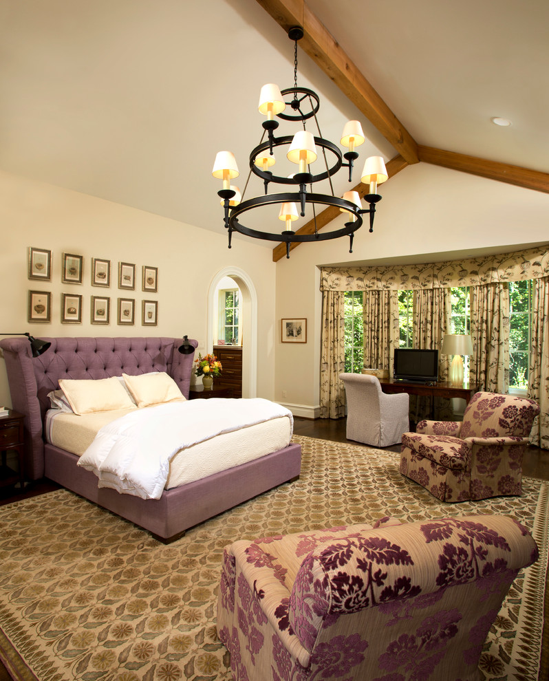 Example of a classic bedroom design in DC Metro with beige walls
