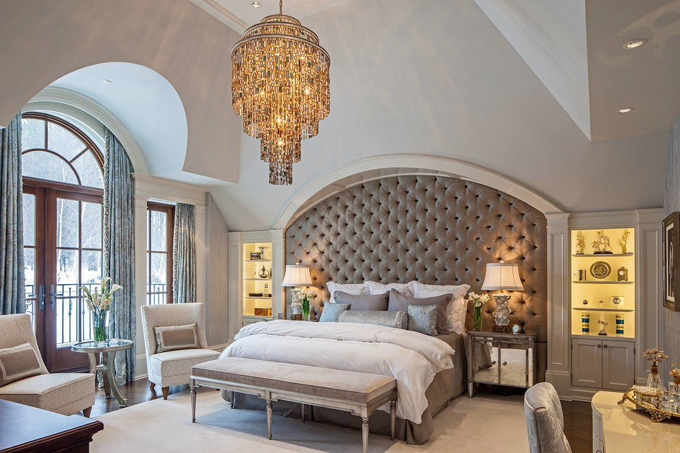 Inspiration for a timeless master dark wood floor bedroom remodel in Toronto with green walls and no fireplace