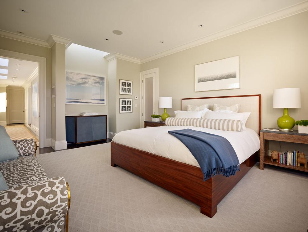 Trendy bedroom photo in San Francisco with gray walls