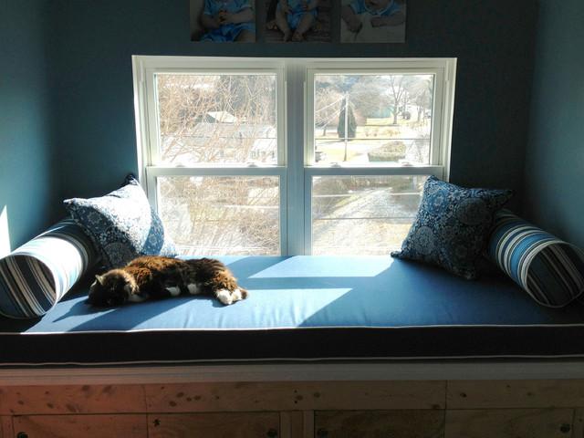 Cozy Blue Window Seat Cushion Traditional Bedroom Philadelphia By Cushion Source