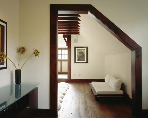 dark wood trim through the front door