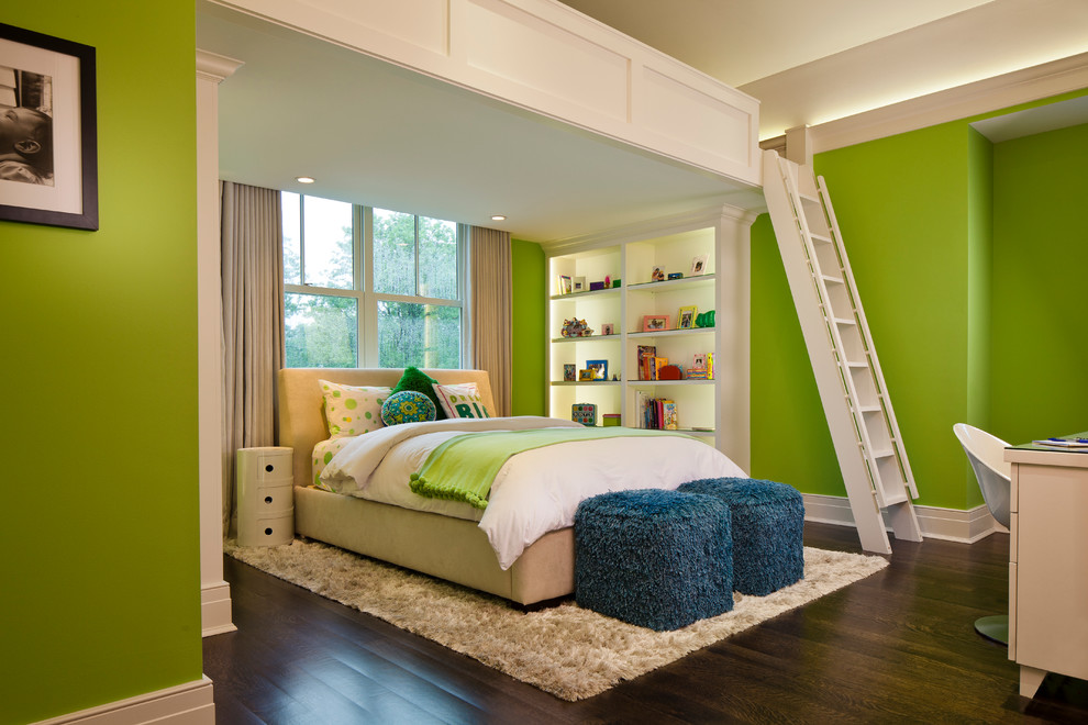 Inspiration for a large coastal loft-style medium tone wood floor bedroom remodel in Chicago with green walls
