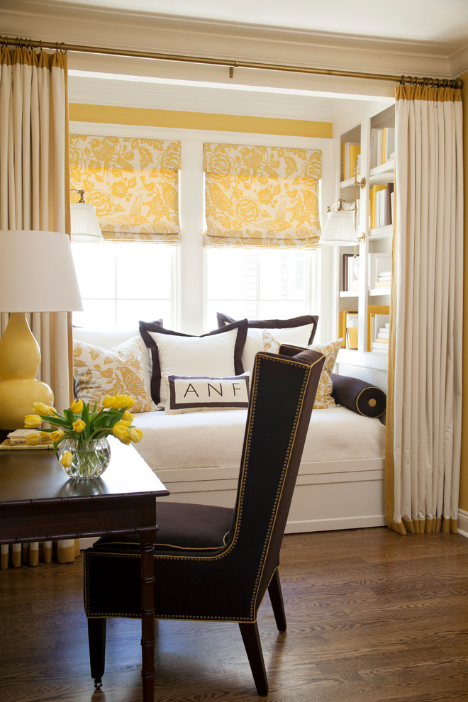 Bedroom - transitional master dark wood floor bedroom idea in Little Rock with yellow walls
