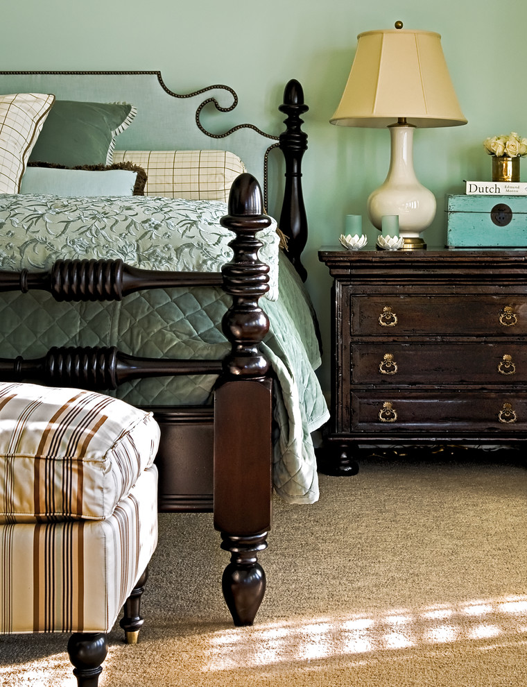 Bedroom - traditional carpeted bedroom idea in New York with blue walls
