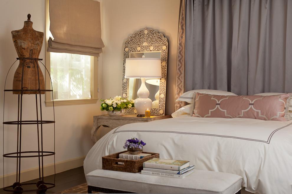 Tuscan dark wood floor bedroom photo in San Francisco with white walls