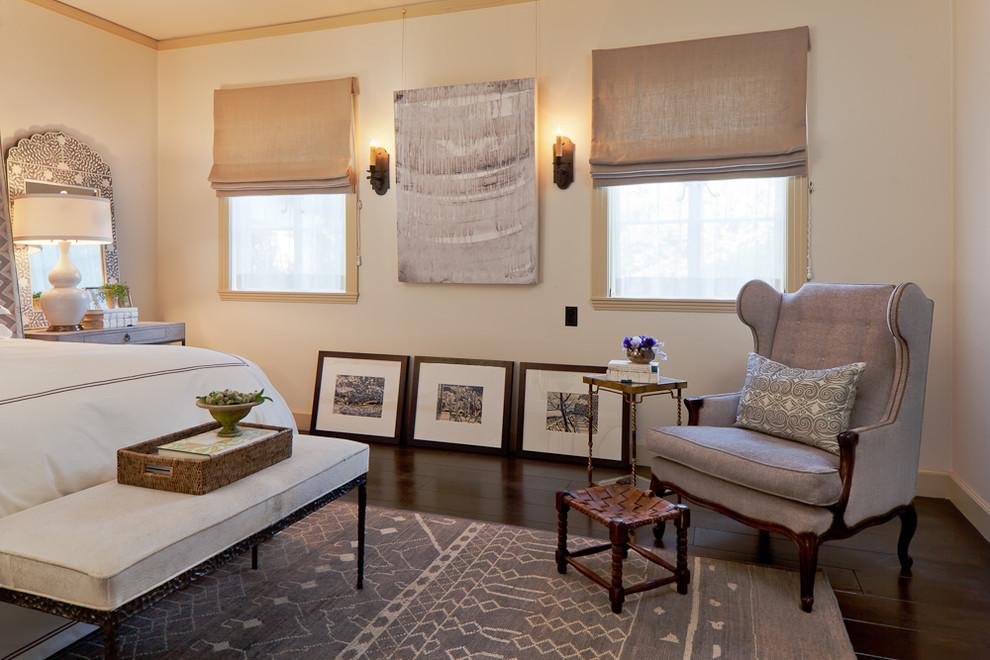 Inspiration for a mediterranean dark wood floor bedroom remodel in San Francisco with beige walls