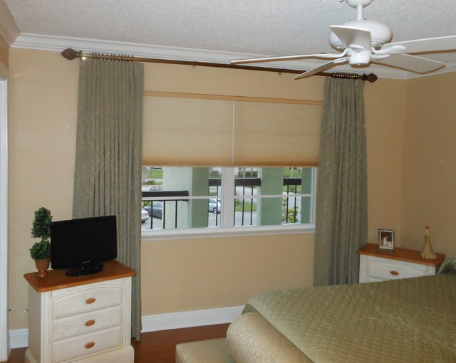 Curtains with Cellular Shades - Contemporary - Bedroom - by Shady Lady Window Treatments, Inc.