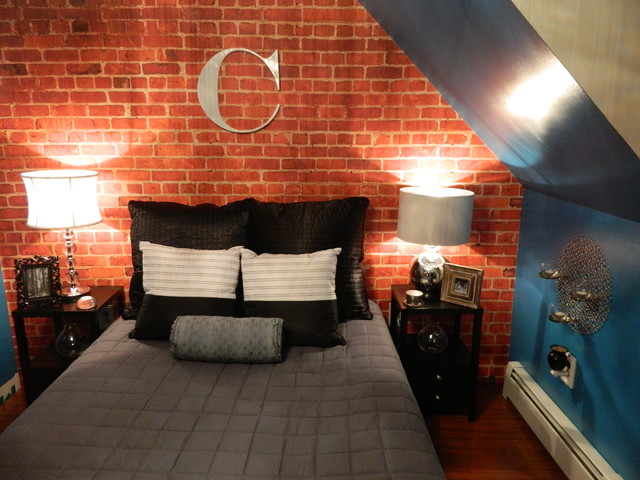 Custom brick wallpaper loft apartment bedroom for Bedroom w brick wall