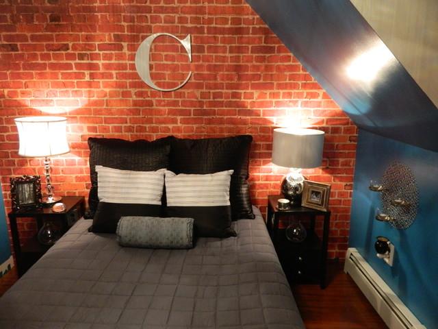 Custom Brick Wallpaper Loft Apartment Bedroomcontemporary Bedroom Atlanta