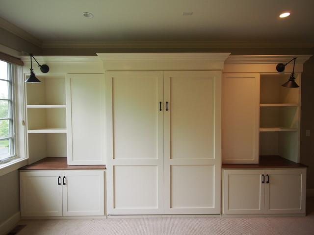 unique murphy bed | Custom built-ins and Murphy bed - Craftsman - Bedroom ...