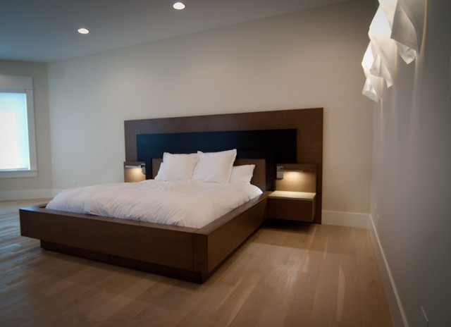 custom built master bed frame contemporary bedroom - Custom Bed Frames
