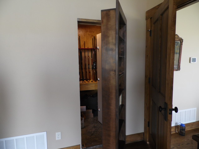 Custom country style hidden gun safe farmhouse bedroom for Hidden gun room