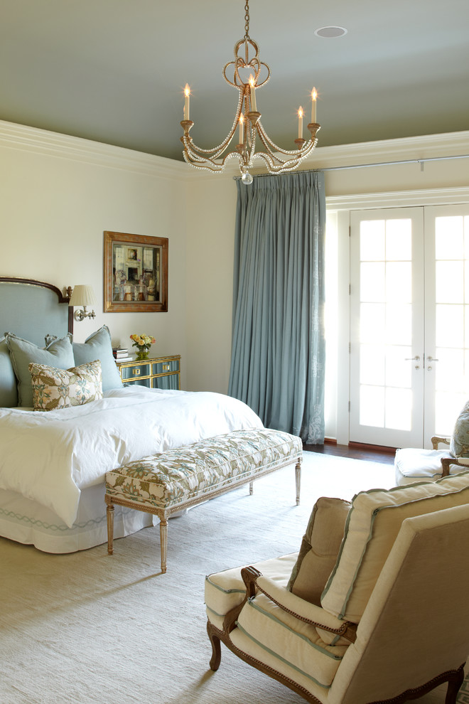 Inspiration for a timeless bedroom remodel in New York with white walls and no fireplace