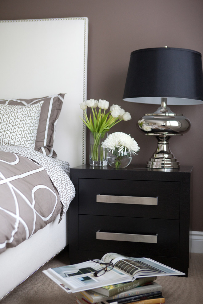 Example of a trendy bedroom design in Toronto with gray walls
