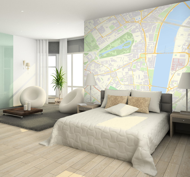 Custom Postcode wallpaper - Contemporary - Bedroom - Other - by ...