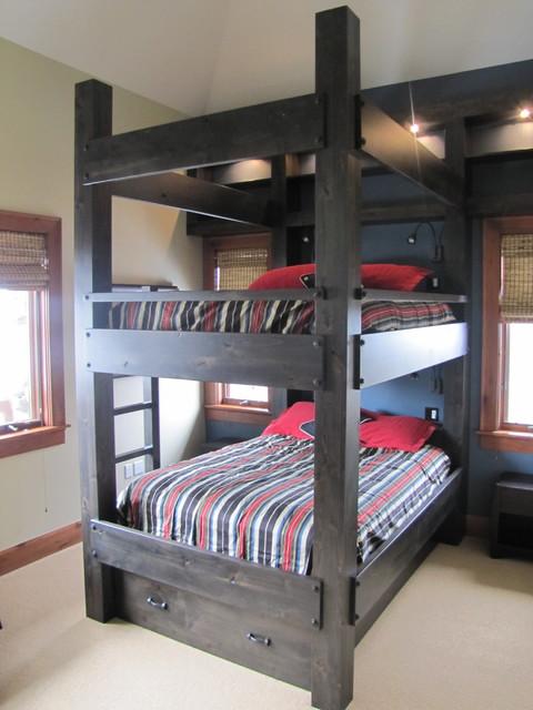 Custom Queen Over Queen Bunk Bed Contemporary Bedroom