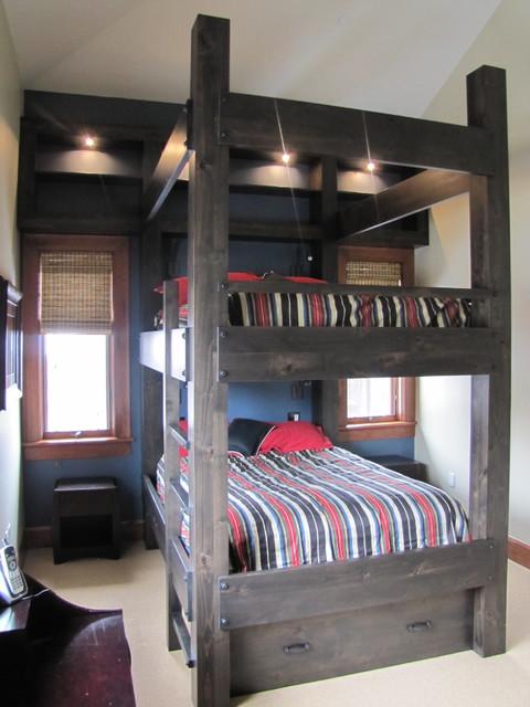 Custom Bunk Beds custom queen over queen bunk bed - contemporary - bedroom