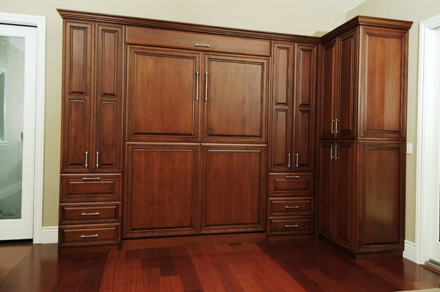 Custom stained cherry wall bed traditional bedroom san francisco by valet custom Small wall cabinets for bedroom