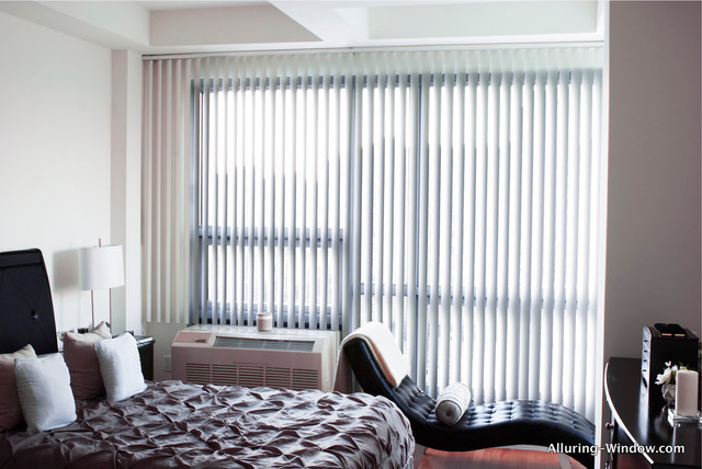Custom Vertical Blinds By Alluring Window, NYC Modern Bedroom