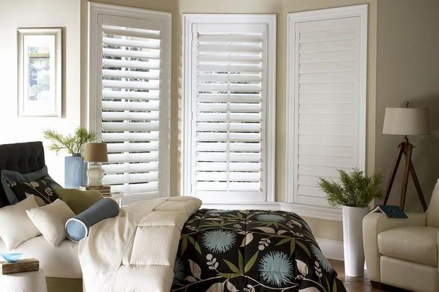 Custom White Plantation Shutters Composite Faux Shutters Lafayette Interior Modern