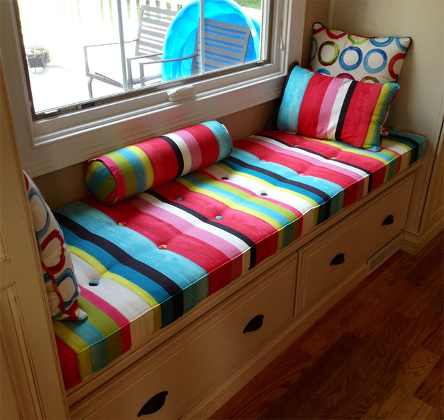 Custom Window Seat Cushion Pillows Transitional Bedroom