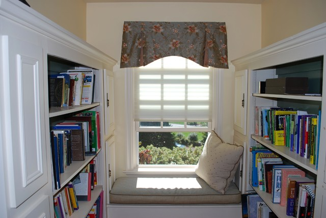 Custom Window Seat Cushion, Valance with Buttons & Pillow traditional-bedroom