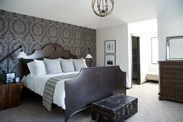 Damask Master Bedroom Feature Wall - Traditional - Bedroom - calgary - by Drop Wallcoverings
