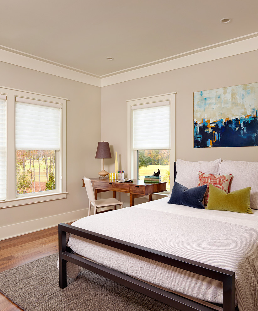 Beach style bedroom photo in Charleston with gray walls