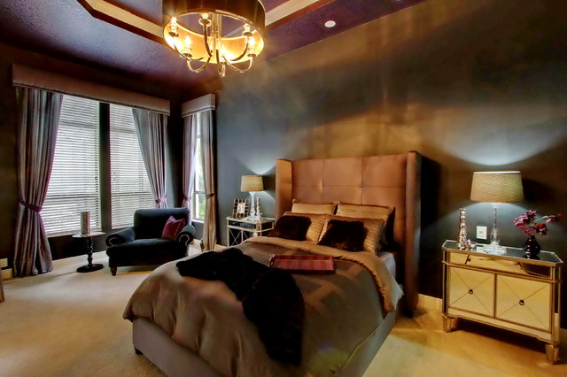 Dark And Luxurious Master Suite Contemporary Bedroom