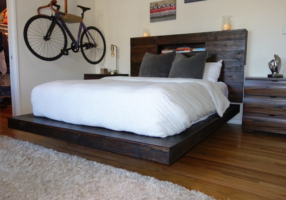 Dark Mahogany Floating Bed Frame