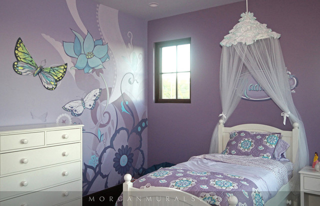 Nice Decorative Floral And Butterfly Wall Mural Traditional Bedroom