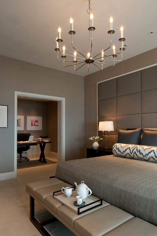 Example of a trendy bedroom design in Chicago with gray walls