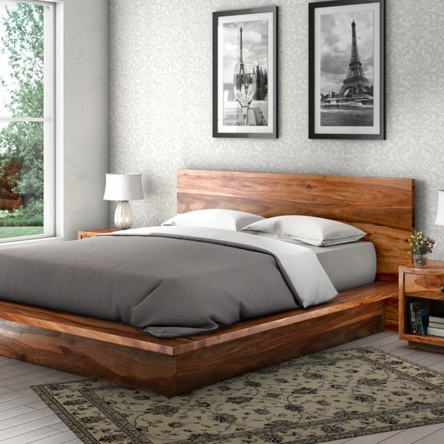 Delaware Solid Wood Platform Bed Frame 3pc Suite Rustic