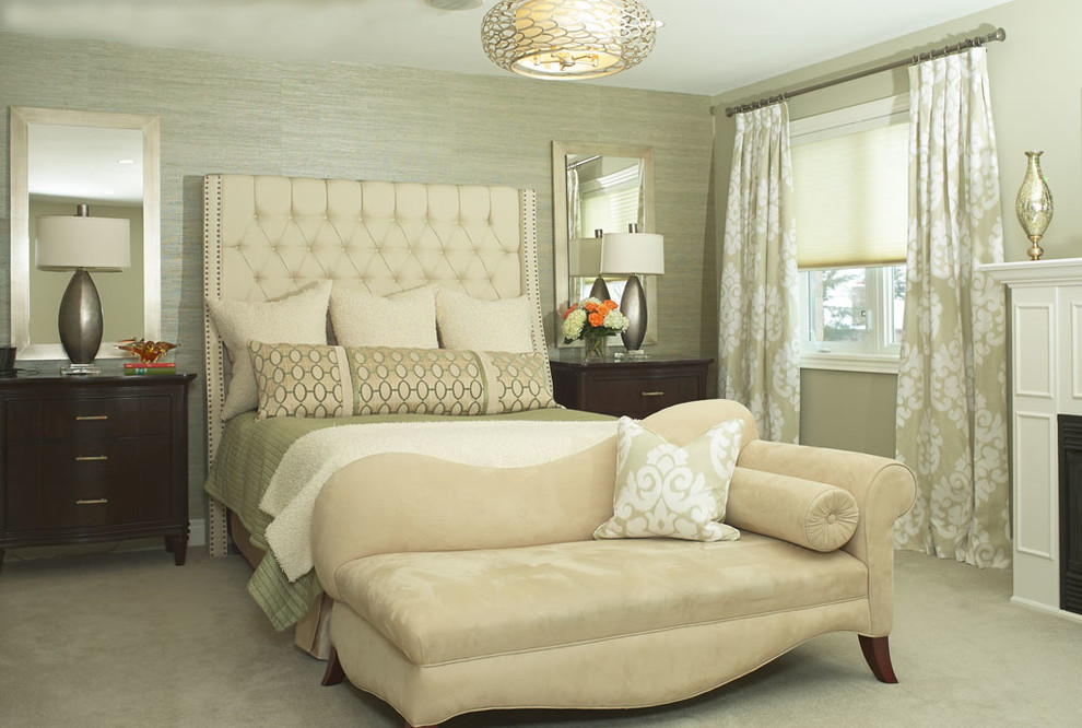 Inspiration for a mid-sized transitional master carpeted bedroom remodel in Toronto with gray walls and a standard fireplace
