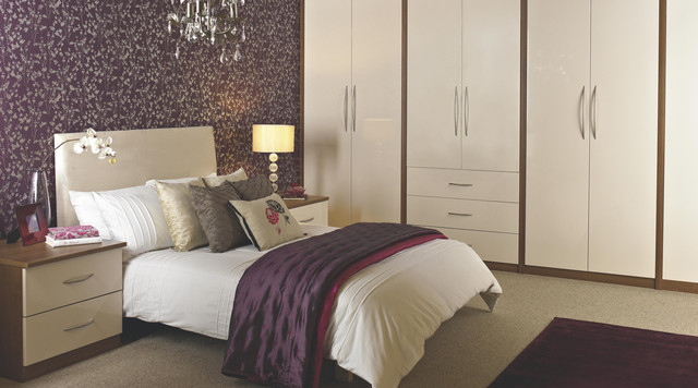designer vanilla gloss modular bedroom furniture - contemporary