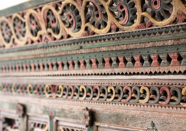 Detail of Indonesian Headboard eclectic bedroom